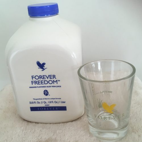 Forever Freedom aloe drink and cup