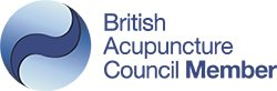 British Acupuncture Council logo, of which Heather Adams is a member