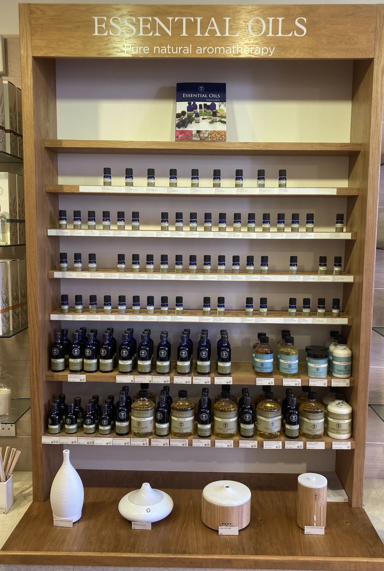 Stand of essential oils at Neal's Yard Leamington, as a good example of the selection available